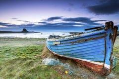 Bateau de pêche Lindisfarne Images libres de droits