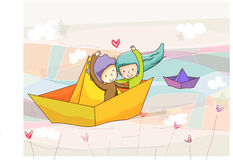 bateau de papier Photo libre de droits