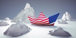 Bateau de papier américain en danger illustration de vecteur