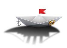 Bateau de papier avec l'ombre d'un grand bateau 3d Image libre de droits
