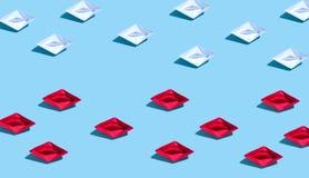 Bateau de papier dans le concept différent de directions illustration de vecteur
