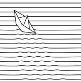 Bateau de papier de vecteur sur des vagues Fond des lignes Images stock