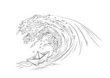 Bateau de papier faisant face à un raz-de-marée illustration stock