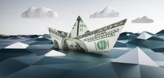 Bateau de papier fait de 100 notes du dollar illustration libre de droits