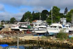 Bateau de pêche au port de Gloucester, le Massachusetts Image libre de droits
