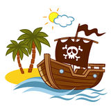 Bateau de pirate de l'Île déserte Images stock
