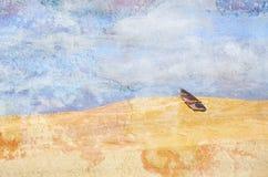 Bateau de rangée surréaliste abandonné dans le désert Image texturisée grunge Photos stock