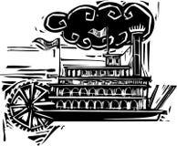 Bateau de rivière sévère de roue de gravure sur bois Photo stock