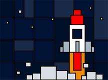 Bateau de Rocket dans le style de neoplasticism Lancement de fusée d'espace avec les places à la mode Le projet commencent  Illus