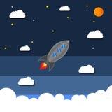 Bateau de Rocket dans un style plat Lancement de fusée d'espace Photo stock