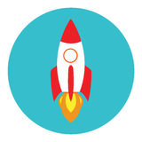 Bateau de Rocket dans un style plat Utilisation de Rocket de vecteur sur le concept d'affaires Image libre de droits