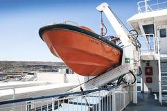 Bateau de sauvetage sur le ferry-boat transportant des passagers Image libre de droits