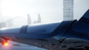 Bateau de Sci fi au-dessus de ville futuriste de brouillard Silhouette d'homme se recroquevillant d'affaires Concept d'avenir Ani illustration libre de droits