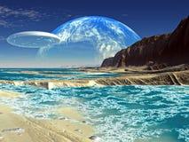 Bateau de soucoupe en vol au-dessus du rivage de mer étranger illustration stock