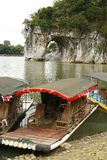 Bateau de touristes à la côte de joncteur réseau d'éléphant Photos stock