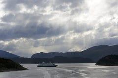 Bateau de vitesse normale dans un compartiment patagonian Photo libre de droits