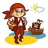 Bateau drôle de fille de pirate Photo libre de droits