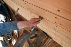 Bateau en bois de construction Images libres de droits