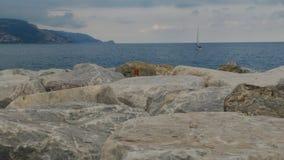 Bateau en mer ligurienne photographie stock