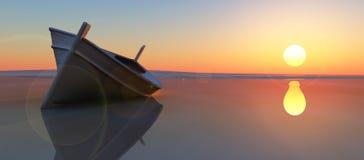 bateau et coucher du soleil de poissons illustration de vecteur