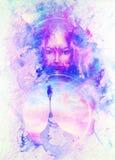 Bateau et femme de Viking avec le mandala ornemental Deux oiseau Phoenix sur le visage de femme Fond de marbre de structure illustration libre de droits