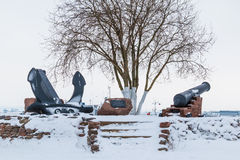 Bateau et monument sur la baie Photo libre de droits