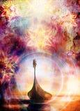 Bateau et oiseau avec le fond ornemental oriental de mandala et de couleur collage original de peinture Images stock