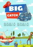 Bateau et poissons de pêche, tige et attirail illustration de vecteur