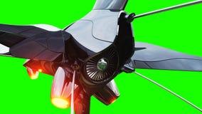 Bateau fufturistic de Sci fi Concept d'avenir Écran vert rendu 3d Image stock
