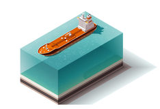 Bateau isométrique de pétrolier de vecteur illustration stock