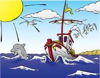 Bateau laissant aux poissons, avec le dauphin Photographie stock