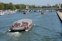 Bateau Mouche on the Seine river in Paris. France, Bateau Mouche on the Seine river in Paris Royalty Free Stock Photography