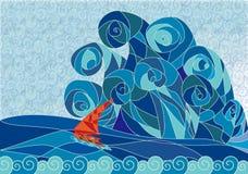bateau, peinture décorative Illustration Stock