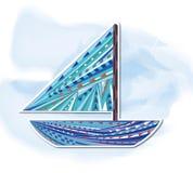 bateau, peinture décorative Illustration de Vecteur
