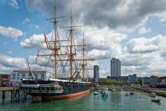 Bateau Portsmouth R-U de musée de guerrier de HMS Images libres de droits
