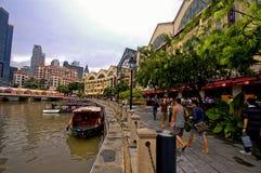 Bateau Quay de Singapour Photographie stock libre de droits