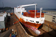 bateau R-U de fret de falmouth de dock photo libre de droits