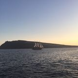 Bateau romantique Grèce d'île de Santorini Photos libres de droits