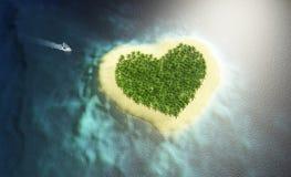 bateau s'approchant pour aimer l'île Photographie stock libre de droits