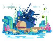 Bateau submergé sous l'eau illustration stock
