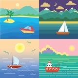 Bateau sur l'eau Aménagez en parc avec le bateau, océan, ciel, le soleil, isla exotique illustration libre de droits