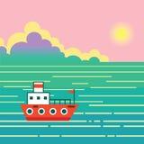 Bateau sur l'eau Aménagez en parc avec le bateau, océan, ciel, le soleil, isla exotique illustration de vecteur
