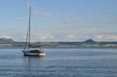 Bateau sur la baie d'acacia, île du nord Nouvelle-Zélande Images libres de droits