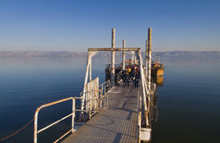 Bateau sur la mer de la Galilée Photographie stock