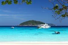 Bateau sur la mer, Thaïlande Photographie stock libre de droits