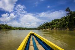 Bateau sur la rivière d'Usumacinta Image stock