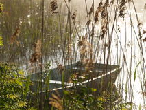Bateau sur le lac en matin brumeux Photographie stock libre de droits