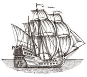 Bateau sur un fond blanc croquis Illustration illustration de vecteur
