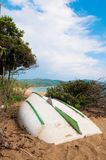 Bateau sur une plage en France Photo stock