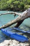 Bateau typique du Vanuatu - trou bleu photo libre de droits